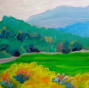 © Pam Van Londen 2010,  Valley View 2: Barb and Chad's view, oil on gessoboard,  8x8