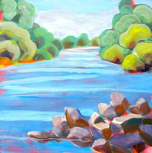 © Pam Van Londen 2010,  Willamette River 10, oil on claybord,  8x8