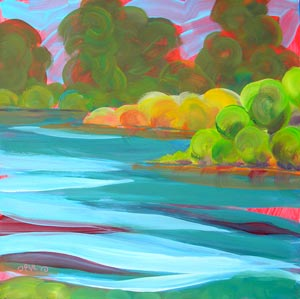 © Pam Van Londen 2010,  Willamette River 11, oil on claybord,  8x8