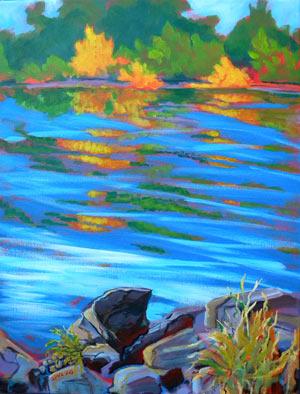 © Pam Van Londen 2010,  Willamette River 12, acrylic,  18x24