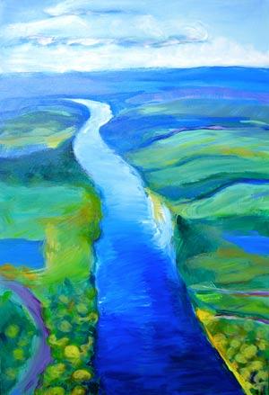 © Pam Van Londen 2010,  Willamette River 13, acrylic,  24x36