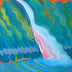 © Pam Van Londen 2010,  Columbia Gorge Horsetail Falls, oil on claybord,  8x8