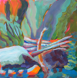 © Pam Van Londen 2010,  Columbia Gorge Oneonta Logjam 2, oil on claybord,  8x8