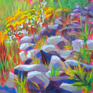 © Pam Van Londen 2010,  Columbia Gorge Rooster Rock Flowers, oil on claybord,  8x8