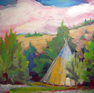 © Pam Van Londen 2010,  KahNeeTa 4 Teepee, oil on claybord,  8x8