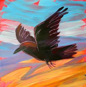 © Pam Van Londen 2010,  Raven 1, oil on claybord,  8x8