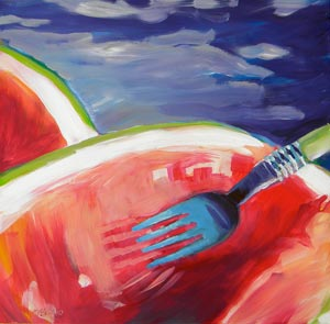 © Pam Van Londen 2010,  Watermelon and Fork, oil on claybord,  8x8