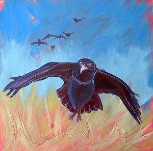 © Pam Van Londen 2010,  Crow in the Grass 3, oil on claybord,  8x8