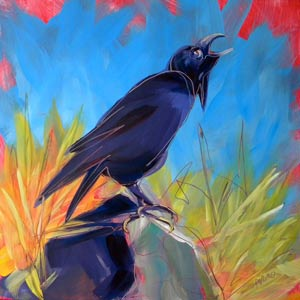 © Pam Van Londen 2010,  Crow in the Grass 4, oil on claybord,  8x8