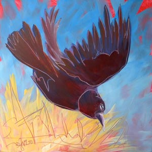 © Pam Van Londen 2010,  Crow in the Grass 6, oil on claybord,  8x8