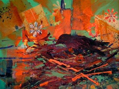 © Pam Van Londen 2010,  Crow Nesting, mixed media acrylic,  24x18