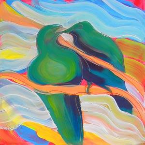 © Pam Van Londen 2010,  Love Birds 1, oil on claybord,  8x8