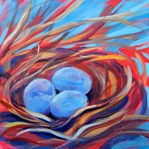 © Pam Van Londen 2010,  Nest of Prosperity 3, oil on claybord,  8x8