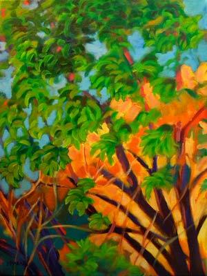 © Pam Van Londen 2010, Sedona Trees 1, acrylic, 18x24