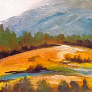 © Pam Van Londen 2010,  Valley Evening 7, oil on canvas panel,  8x8