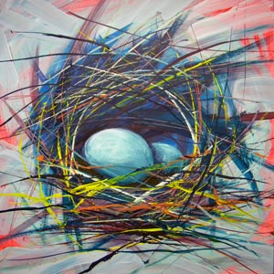 © Pam Van Londen 2010,  Nest of Prosperity 8, oil on claybord,  8x8