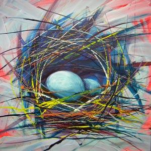 © Pam Van Londen 2010,  Nest of Prosperity 8, oil on claybord,  8x8