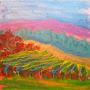 © Pam Van Londen 2010,  Valley Morning 6 Vinyard, oil on canvas panel,  8x8