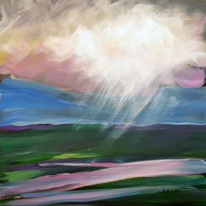 © Pam Van Londen 2010,  Valley Storm 1, oil on claybord,  8x8