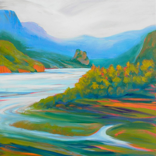 © Pam Van Londen 2010,  Columbia Gorge From Rooster Rock of Beacon Rock 3, oil on claybord,  48x48