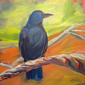 © Pam Van Londen 2010,  Crow in the Grass 8, oil on claybord,  8x8