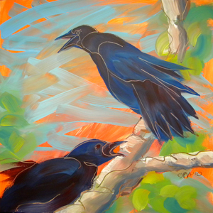© Pam Van Londen 2010,  Crow in the Grass 9, oil on claybord,  8x8