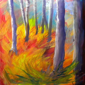 © Pam Van Londen 2010,  Aspen Grove 2, oil on clayboard,  8x8