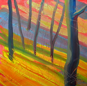 © Pam Van Londen 2010,  Aspen Grove 3, oil on clayboard,  8x8