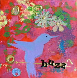 © Pam Van Londen 2010, Buzz 1, mixed media acrylic, 12x12