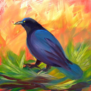 © Pam Van Londen 2010,  Crow in the Grass 10, oil on claybord,  8x8