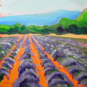 © Pam Van Londen 2010,  Lavender Field 1, oil on clayboard,  8x8
