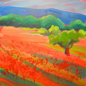 © Pam Van Londen 2010,  Poppy Field 3, oil on clayboard,  8x8