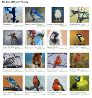 Birds of Fine Art Painting Etsy Treasury