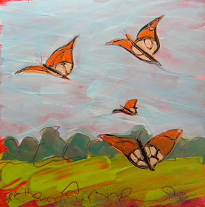 © Pam Van Londen 2010, Butterflies Flying 1, oil on clayboard, 8x8