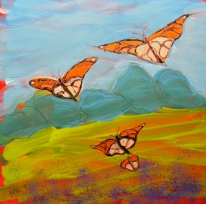 © Pam Van Londen 2010, Butterflies Flying 2, oil on clayboard, 8x8