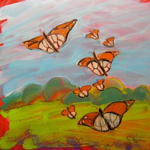 © Pam Van Londen 2010, Butterflies Flying 3, oil on clayboard, 8x8