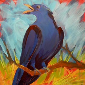 © Pam Van Londen 2010, Crow in the Grass 11, oil on claybord, 8x8