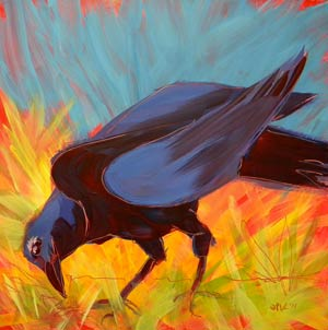 © Pam Van Londen 2010, Crow in the Grass 12, oil on claybord, 8x8