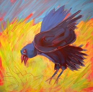 © Pam Van Londen 2010, Crow in the Grass 13, oil on claybord, 8x8