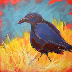 © Pam Van Londen 2010, Crow in the Grass 14, oil on claybord, 8x8