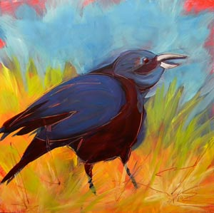 © Pam Van Londen 2010, Crow in the Grass 16, oil on claybord, 8x8