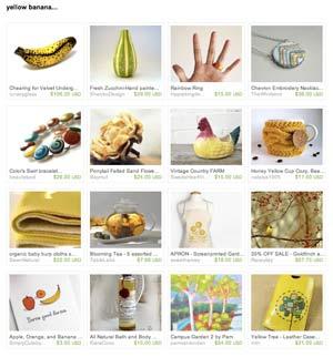 Etsy yellow banana Treasury