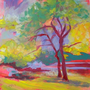© Pam Van Londen 2010, Avery Park Trees 3, oil on clayboard, 8x8
