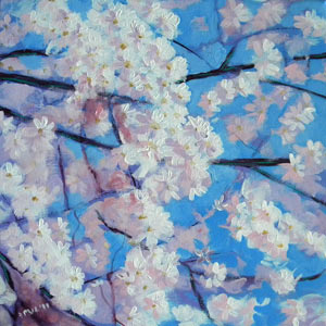 © Pam Van Londen 2010, Cherry Tree Branches 1, acrylic on gallery-edged canvas, 12x12