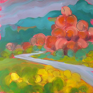 © Pam Van Londen 2010, German Highway 2, oil on claybord, 8x8