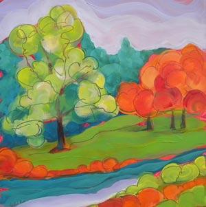 © Pam Van Londen 2010, Park Trees, oil on claybord, 8x8