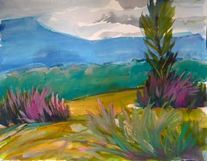 © Pam Van Londen 2010, Valley Morning 8, watercolor, 17x13