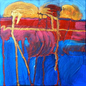 © Pam Van Londen 2010, Canyon Lake 2, acrylic on canvas board, 8x8