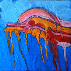 © Pam Van Londen 2010, Canyon Lake 3, acrylic on canvas board, 8x8