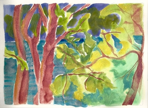 © Pam Van Londen 2010, Willametter River 16, watercolor, 11x8.5